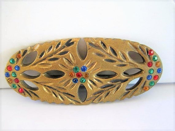 Art Deco Brooch, Multicolor Rhinestones, Gilt Gold Over Wood Brooch, Gift for Woman