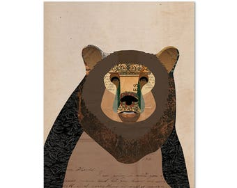 Ours à imprimer - Collage Illustration Art Print