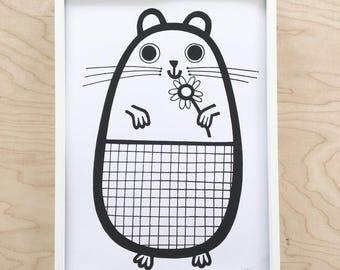 NEW A4 Guinea Pig Screen Print
