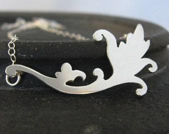 Fleur de leaves sterling silver necklace - elegant swirls summertime necklace, Valentines Day, bridal, sweetheart
