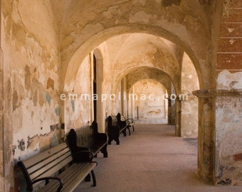 Photography warm golden colours: old building arches textural, benches, historic architecture, peaceful, tranquil, zen decor, shabby chic.