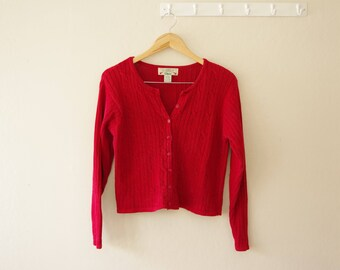 1990s Orvis Red Ramie / Cotton Blend Cardigan Sweater Size Small