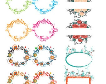 Floral Wreath Vectors: Digital Clipart Set Instant Download - EPS and PNG files included
