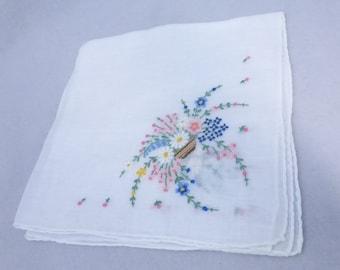 Vintage Mid Century Handkerchief with Floral Basket