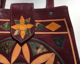 Large applique cut leather floral diamond vintage purse Morocco India tote convertible shoulder bag