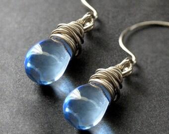 Wire Wrapped Earrings: Blue Teardrops in Silver - Elixir of Raindrops. Handmade Earrings.