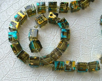 set of 10 beads 8x8mm COSMIC square OLIVE glass
