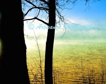 sunrise on water, sunrise photo, sunrise fine art, sunrise and tree, tree shadow, blue sky photo, tree in sky, nature photography, water