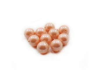 Pink Shell Beads, Pink Beads, Shell Beads, 10mm Pink Beads, 10pcs Shell Beads, Round Beads, Jewelry Making, DIY Beads