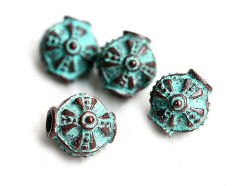Round Ornament greek metal beads, Lentil shape, Verdigris green Patina on copper, Lead Free, 10mm - 4Pc - F140