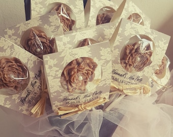 Rose Personalised Chocolate Lollipop Favours, Party Favors