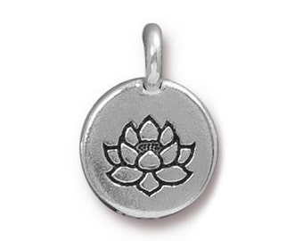 3 TierraCast Lotus 5/8 inch ( 16 mm ) Silver Plated Pewter Charms