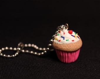 Birthday Wish Miniature Cupcake Charm Keychain/Necklace Cute Sweets