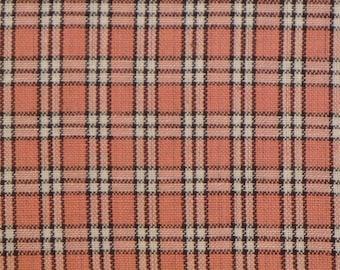 Plaid Homespun Fabric | Cotton Sewing Fabric | Rag Quilt Fabric | Home Decor Fabric | Apparel Fabric | Rose, Mocha And White SMALL Plaid