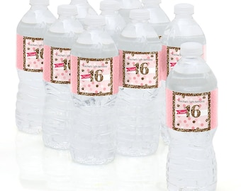 Sweet 16 - Water Bottle Sticker Labels - Personalized Waterproof Self Stick Labels - 16th Birthday Party Favors - Pink and Gold - 10 Ct.
