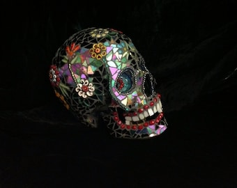 """Stained Glass Mosaic Skull """"Lenny"""""""