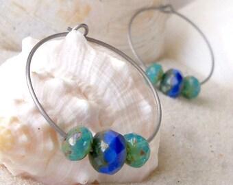 Gift for Her - Hypoallergenic Hoops - Bead Earrings - Hoop Earrings - Titanium Earrings - Glass Bead Earrings - Beaded Hoop Earrings