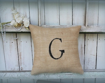 Burlap pillow personalized with letter of your choice