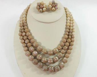 Necklace Earrings Western Germany Vintage Lucite Plastic Gold Tone Signed Beige 9089