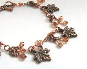 Maple Leaf Bracelet, Leaf Charm Bracelet with Apricot Czech Beads, Copper Bracelet, Autumn Leaves, Fall Fashion, Copper Jewelry