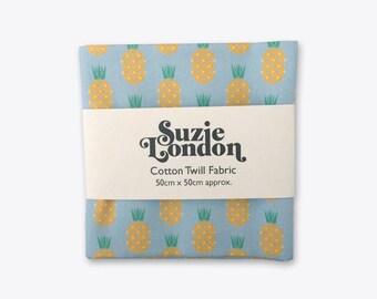 Disco Pineapple Cotton Twill Fabric in Sky Blue