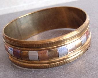 Mixed Metals Bangle Brass Wide Vintage V0762