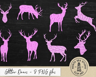 Glitter Deers Clipart, Pink Stag Graphic Elements, 8 PNG Deers, Different Glitter Styles, Forest Clipart, Instant Download, BUY3FOR6