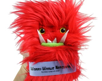 Worry Woolie child anxiety notebook, red and green fuzzy monster