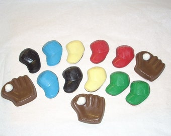 24 Chocolate Baseball cap/glove cupcake toppers or favors