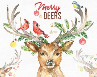 Merry Deers. Watercolor holiday clipart, birds, antlers, conifers, decorations, handpainted, reindeer, floral, invite, country, horns, holly