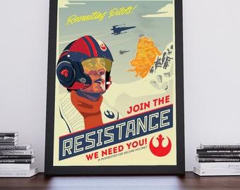 Star Wars Resistance Poe Dameron | Propaganda Poster | Unframed