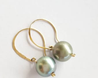 Special Order - Tahitian Pearl Earrings on 14k Gold-filled handcrafted earwire