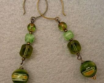 Vintage German Peridot Green Cathedral Glass Dangle Drop Bead Earrings, Vintage Venetian Green Millefiori Glass Beads -GIFT WRAPPED