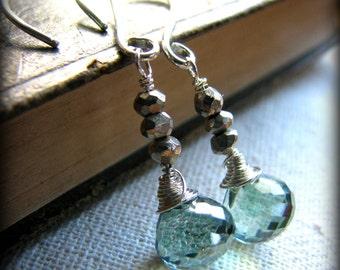 Green Mystic Quartz Dangle Earrings - Pyrite Gold Sterling Silver- Gift Birthday Christmas Daughter Girlfriend Sister Best Friend Mother