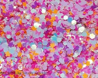 Earth Girls Are Easy - Glitter - Orange Pink and Purple Matte Neon Glitter - White Iridescent Chunky Glitter - Neon Matte Glitter - Crafting