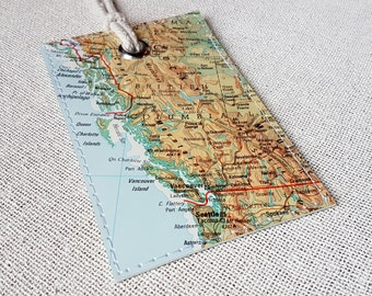 British Columbia luggage tag made with original vintage map