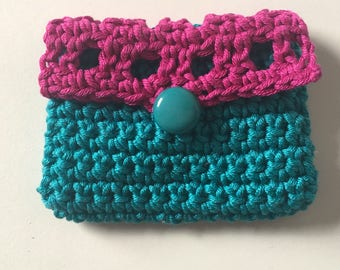 Coin purse small crochet coin purse pink and teal makes cute present