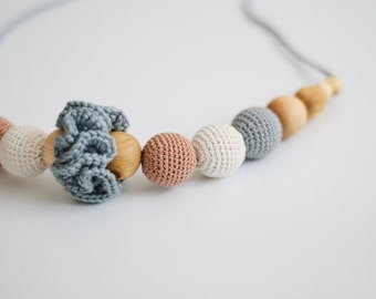 Classic Neutral Nursing Necklace / Teething Necklace - light grey, oatmeal & beige