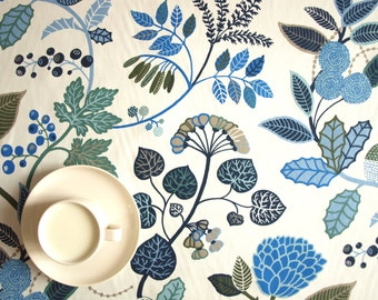 Tablecloth white blue moss green flowers floral table cloth , also napkins , runner , curtain , pillow available , great GIFT
