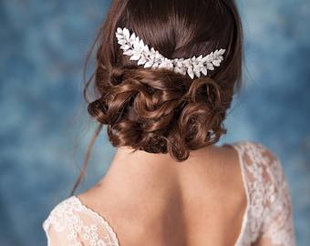 Leaf bridal headpiece Silver leaf bridal hair comb Grecian leaf headpiece Leaf wedding headpiece Grecian hair piece Leaf wedding hair comb