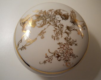 Vintage Porcelain Cupid Trinket Jewelry Box, Made in Japan White & Gold Box, Footed Trinket Box