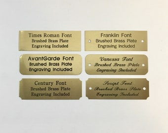 """1""""x3"""" Engraved Brushed Brass Plate Black Etched Letters Custom Personalized Plaque Adhesive Backing Gift Label Sign Trophy Award Taxidermy"""