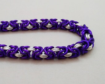 Handmade Chainmail Bracelet 18g Byzantine Purple & Bright Silver Anodized Aluminum Maille Jewelry