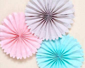 Set of 5 Tissue paper Fans // nursery decor // 5 pomwheels // custom pinwheels // childrens birthday //  party decorations //classroom