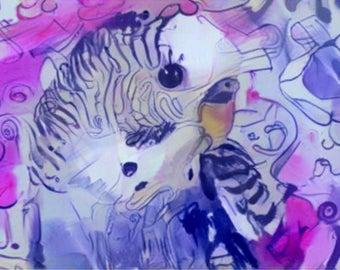 ATC ACEO Chirpy Budgie purple Art Card