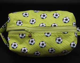 Soccer Bag, Lime Green Ditty Bag, Dopp Kit, Travel Pouch, Toiletry Bag, Makeup Bag, Zip Pouch, Shave Kit, Gifts for Soccer Moms