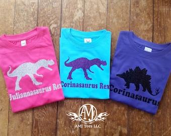 Personalized girl dinosaur shirt, sparkly glitter dinosaur shirt for girls, girls fitted dinosaur birthday shirt,