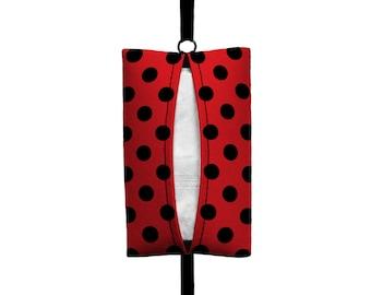 Auto Sneeze - Mini Polka Dot - Visor Tissue Case/Cozy - Car Accessory Automobile Polkadot Red Black Ladybug Lady Bug