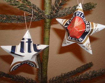 Recycled Miller Lite Retro Beer Can Stars - Set of 2 Christmas Ornaments or Gift Toppers