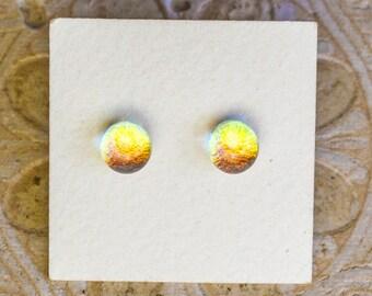 Dichroic Glass Earrings , Petite, Golden DGE-1409